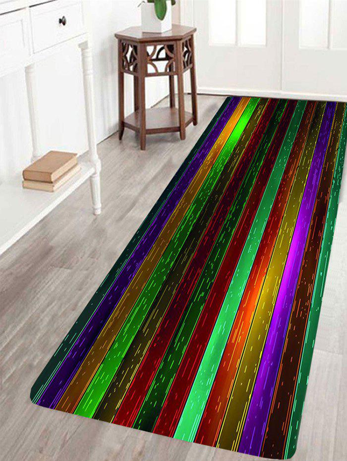 Nonslip Rainbow Plank Print Floor Area Rug - COLORFUL W16 INCH * L47 INCH