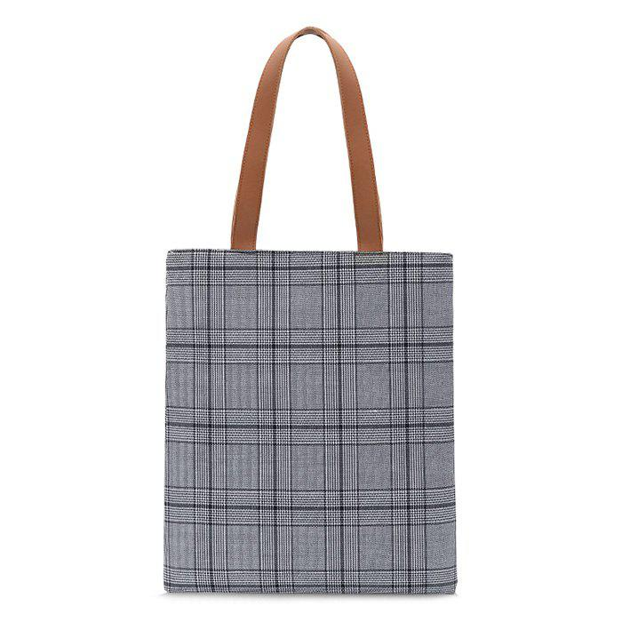 Color Blocking Checked Shoulder Bag - GRAY