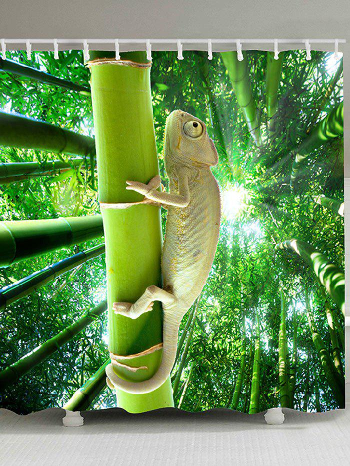 Lizard Climbing the Tree Patterned Bath Curtain - GREEN W71 INCH * L71 INCH