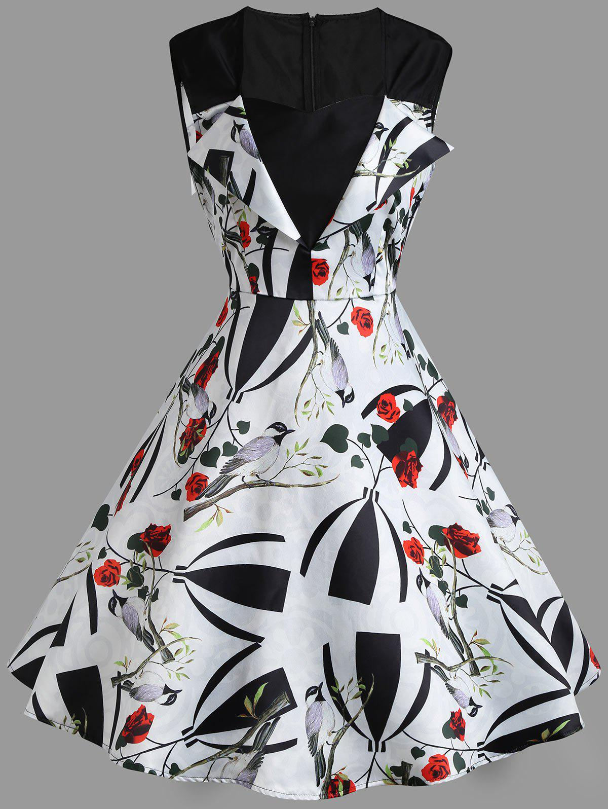 Floral Print A Line Sweetheart Vintage Dress - WHITE L