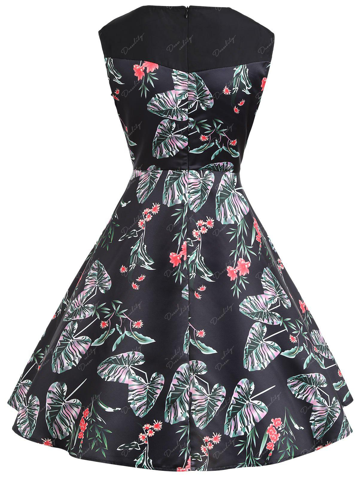 Floral Print A Line Sweetheart Vintage Dress - BLACK S