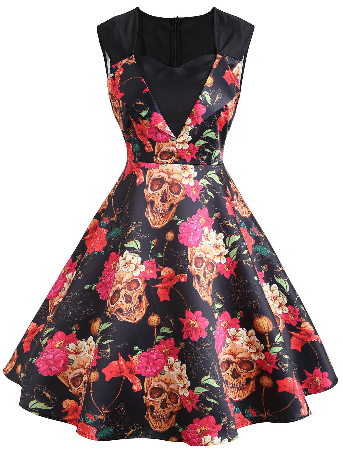 Floral Print A Line Sweetheart Vintage Dress - DEEP YELLOW S