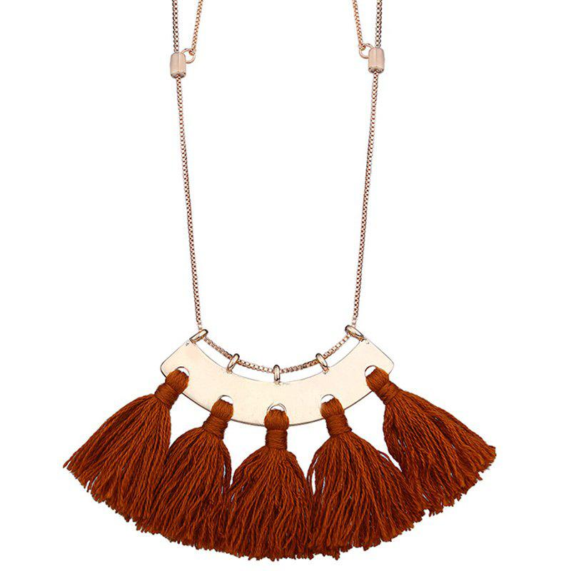 Statement Alloy Tassel Pendant Necklace - BROWN