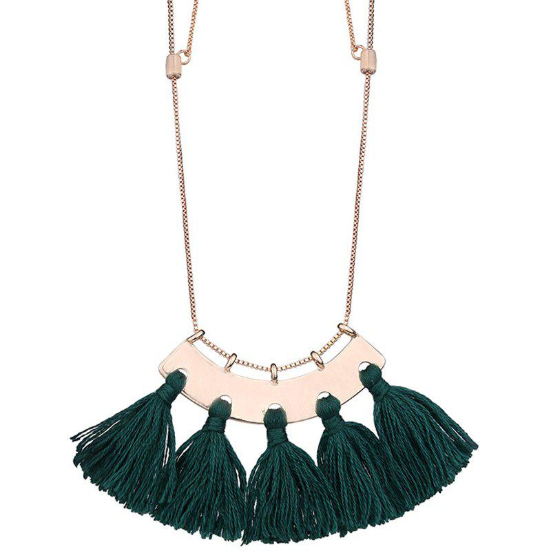 Statement Alloy Tassel Pendant Necklace - GREEN