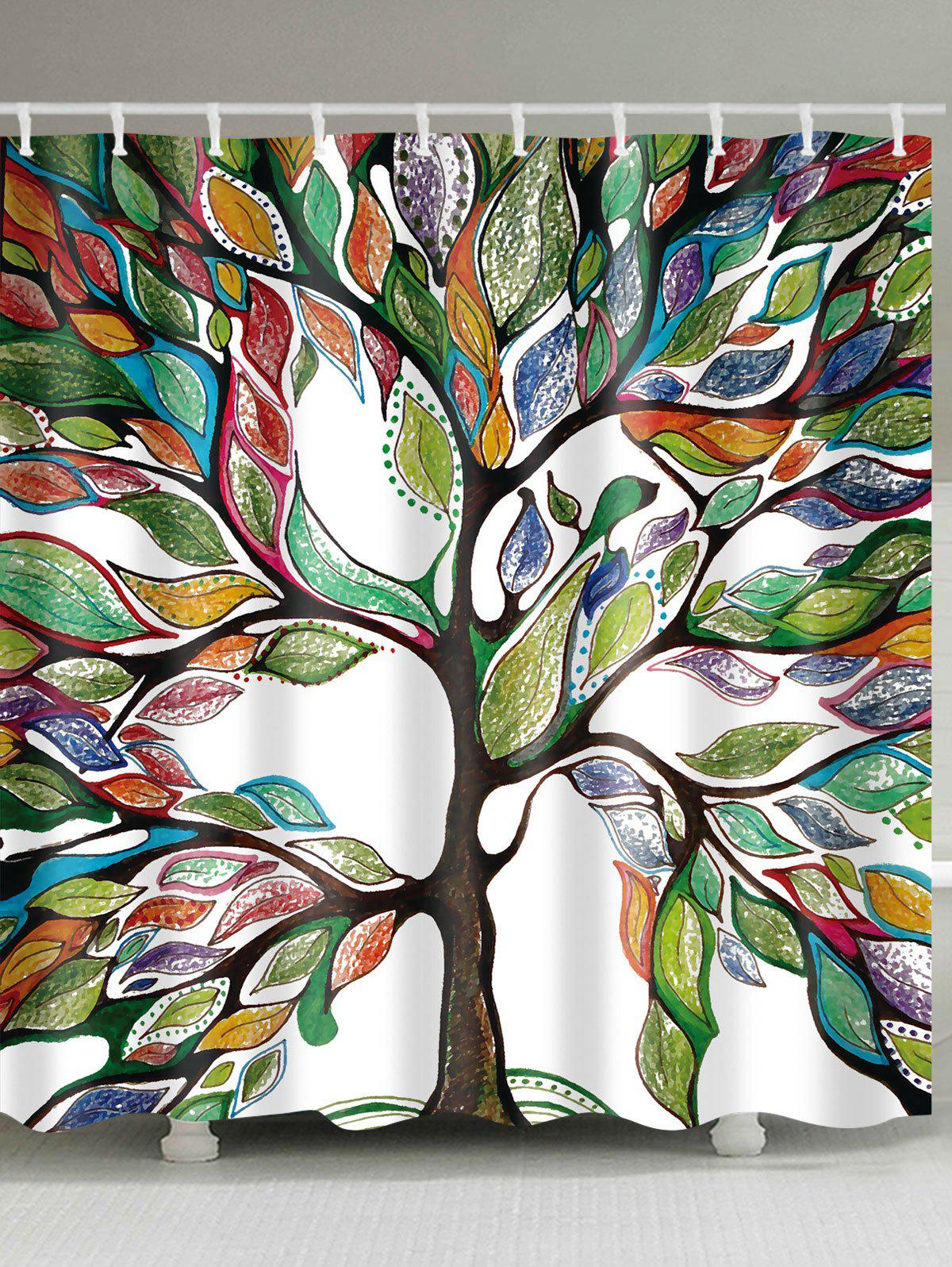 Colorful Tree of Life Print Waterproof Shower Curtain