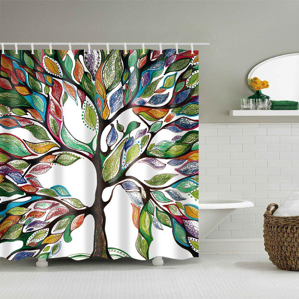 Colorful Tree of Life Print Waterproof Shower Curtain - COLORFUL W71 INCH * L79 INCH