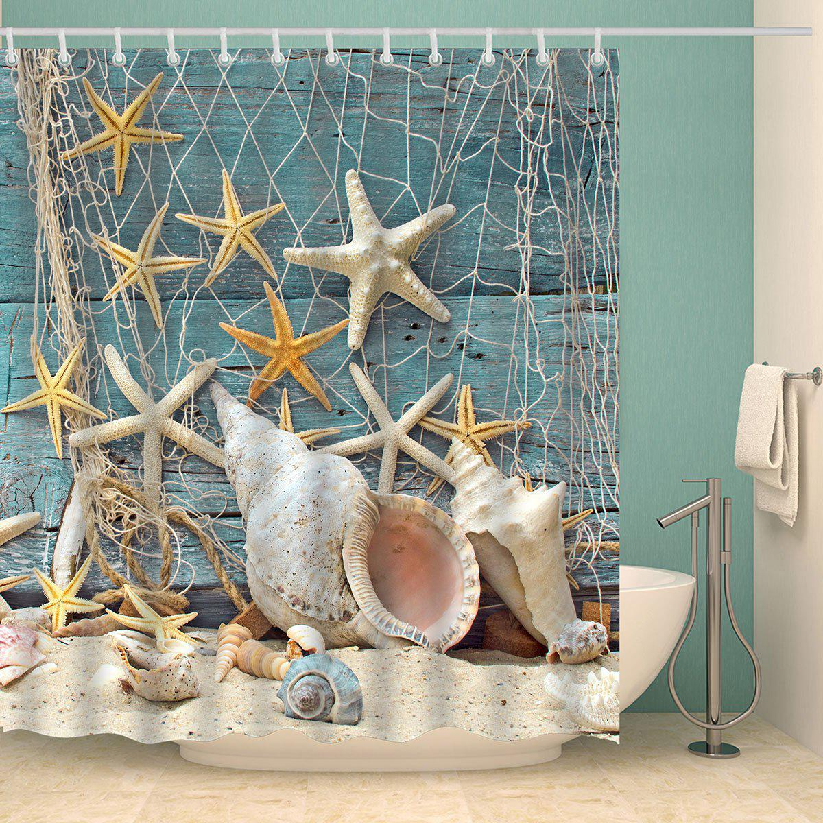 Waterproof Starfish and Shell Print Shower Curtain - COLORMIX W71 INCH * L79 INCH