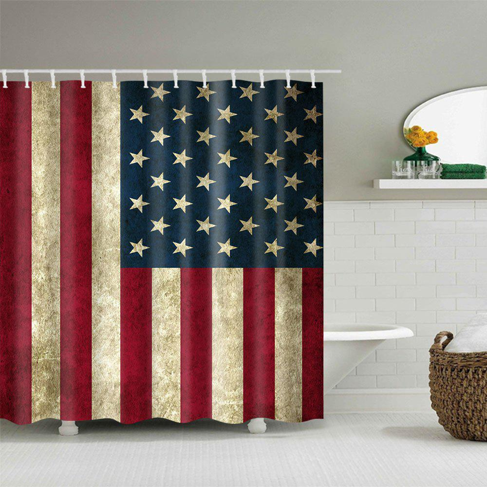 Waterproof Fabric Patriotic American Flag Print Shower Curtain - COLORMIX W71 INCH * L71 INCH