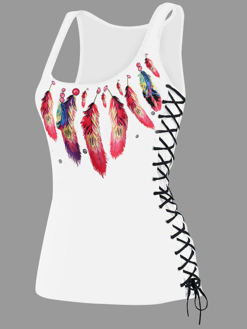 Feather Print Lace Up U Neck Tank Top - RED XL