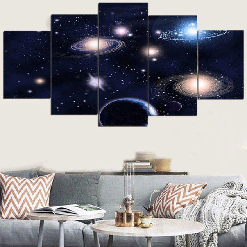 Galaxy Patterned Split Wall Art Canvas Paintings - COLORMIX 1PC:12*31,2PCS:12*16,2PCS:12*24 INCH( NO FRAME )