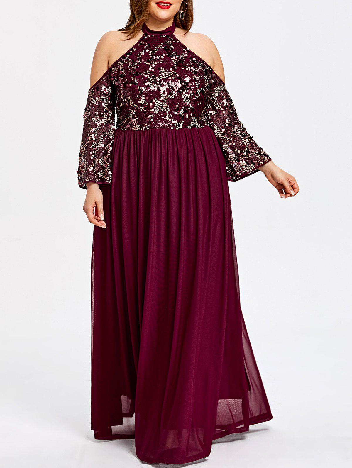 2018 Plus Size Sequined Cold Shoulder Prom Dress Wine Red Xl In Maxi