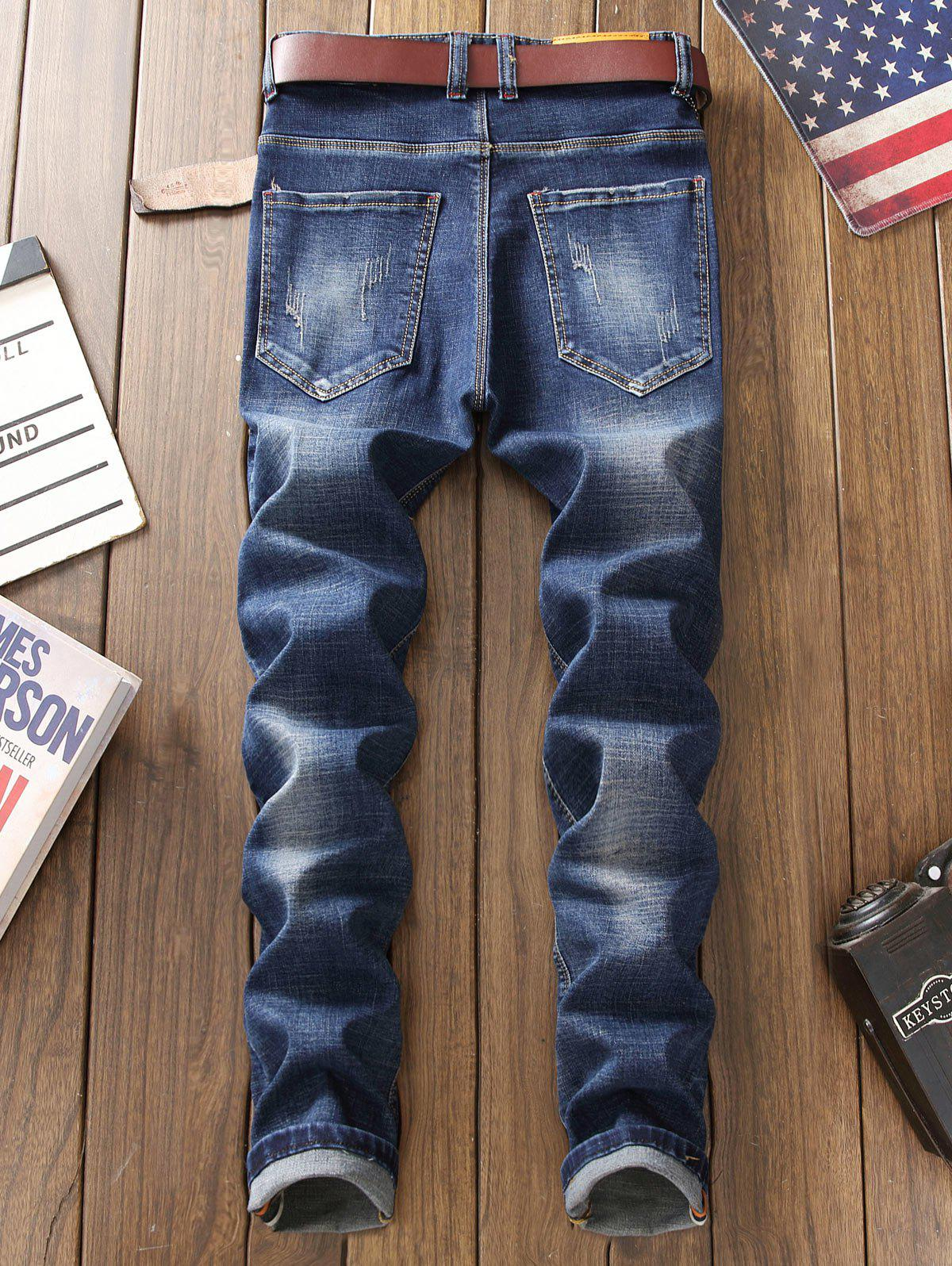 Straight Leg Patch Design Jeans with Knee Rips - BLUE 32