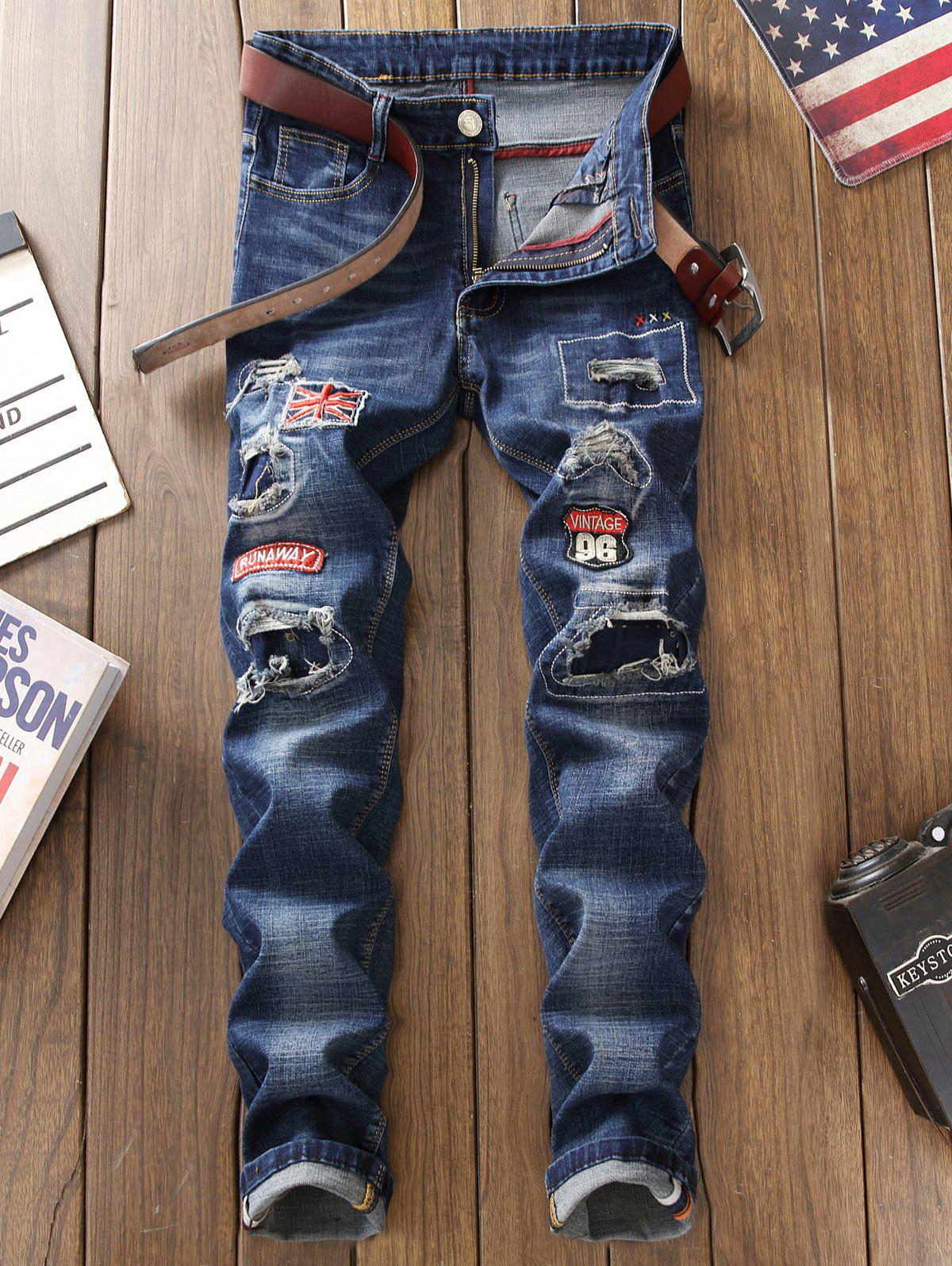 Straight Leg Patch Design Jeans with Knee Rips - BLUE 30