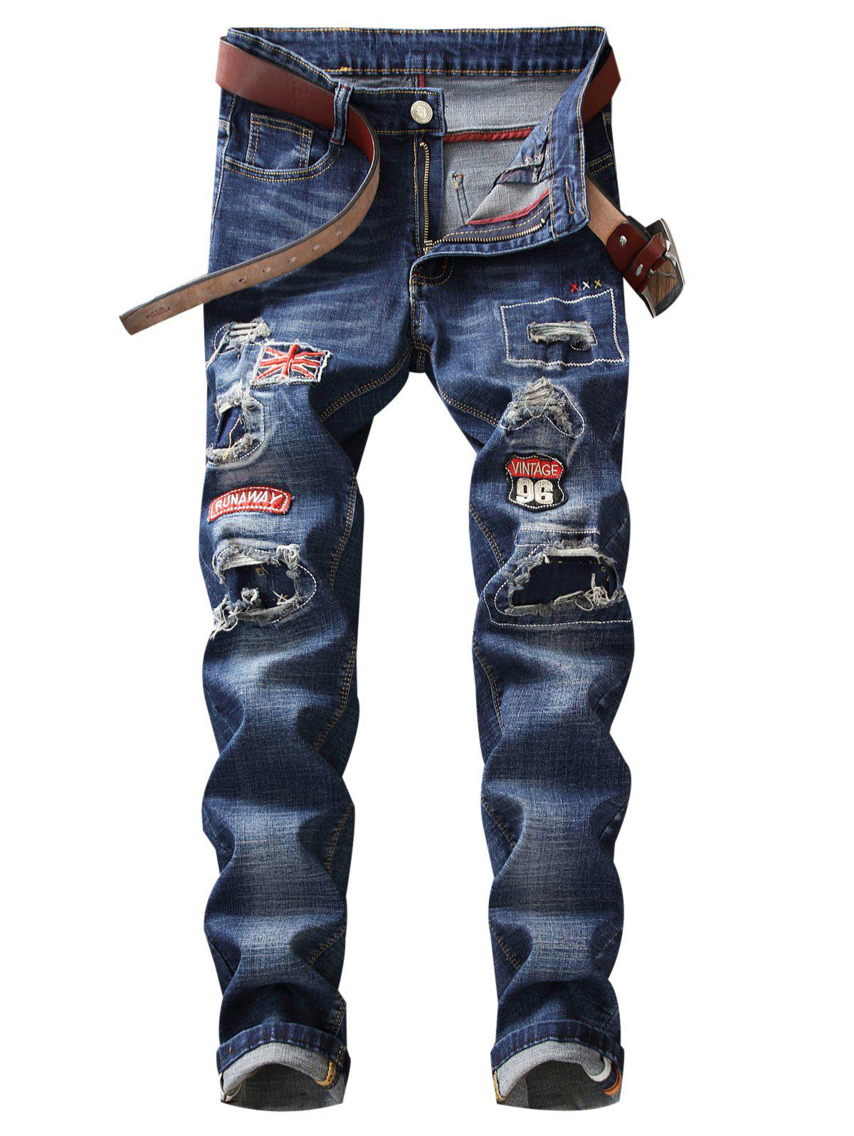 Straight Leg Patch Design Destroyed Jeans - BLUE 36
