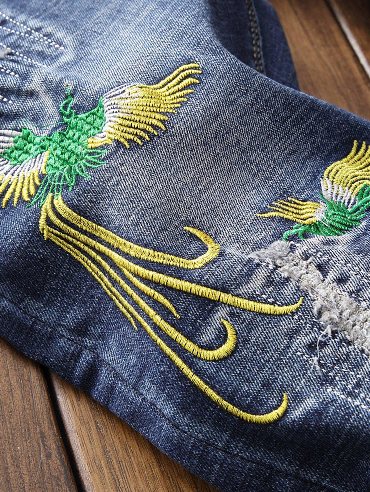 Zip Fly Phoenix Embroidery Destroyed Jeans - BLUE 30
