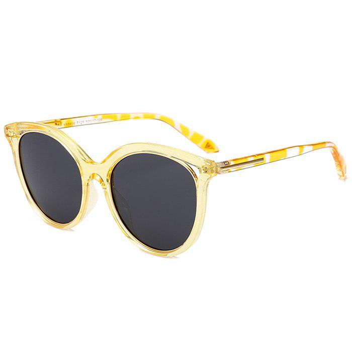 Anti UV Metal Full Frame  Decorated Cat Eye Sunglasses - YELLOW