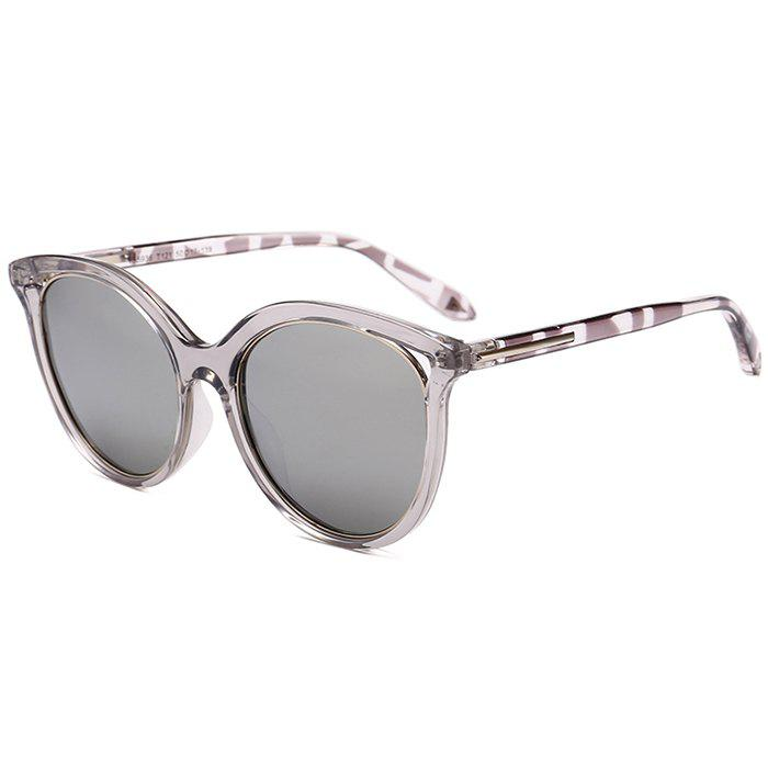 Anti UV Metal Full Frame  Decorated Cat Eye Sunglasses - REFLECTIVE WHITE COLOR