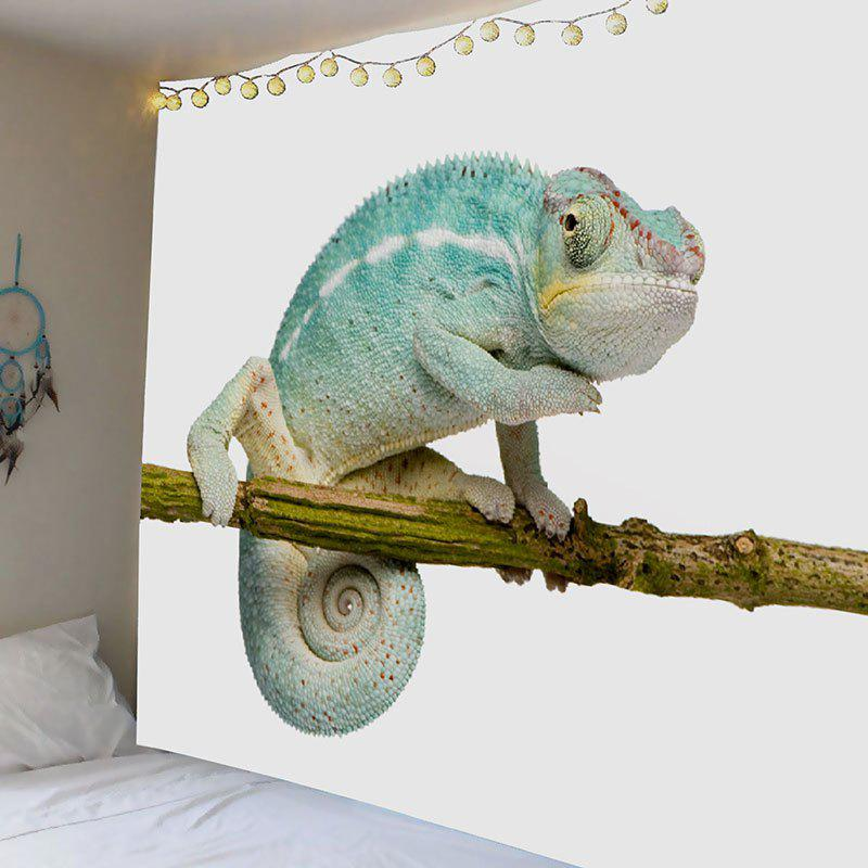 Chameleon Stand on the Tree Printed Decorative Tapestry - BLUE W71 INCH * L71 INCH
