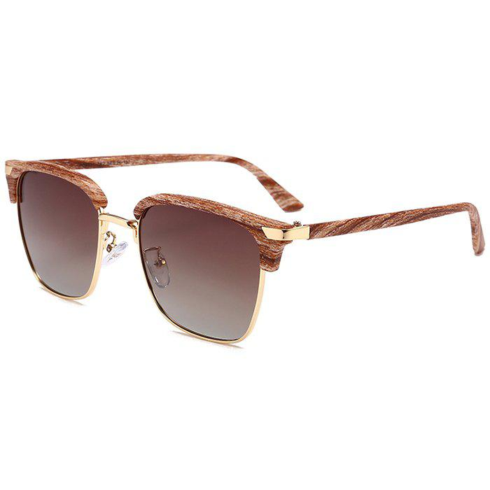 Unique Semi-frame Square Lightweight Sunglasses - GOLD FRAME/DARK BROWN LENS