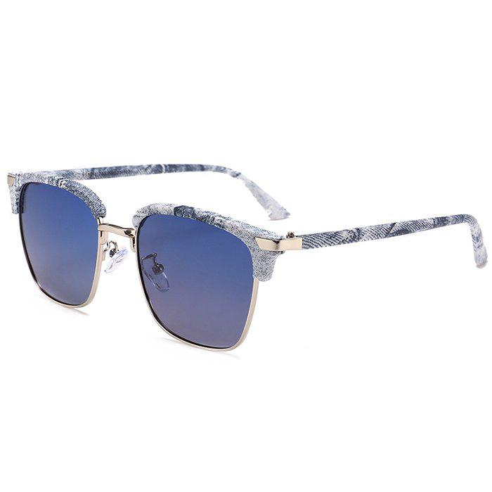 Unique Semi-frame Square Lightweight Sunglasses - BLUE
