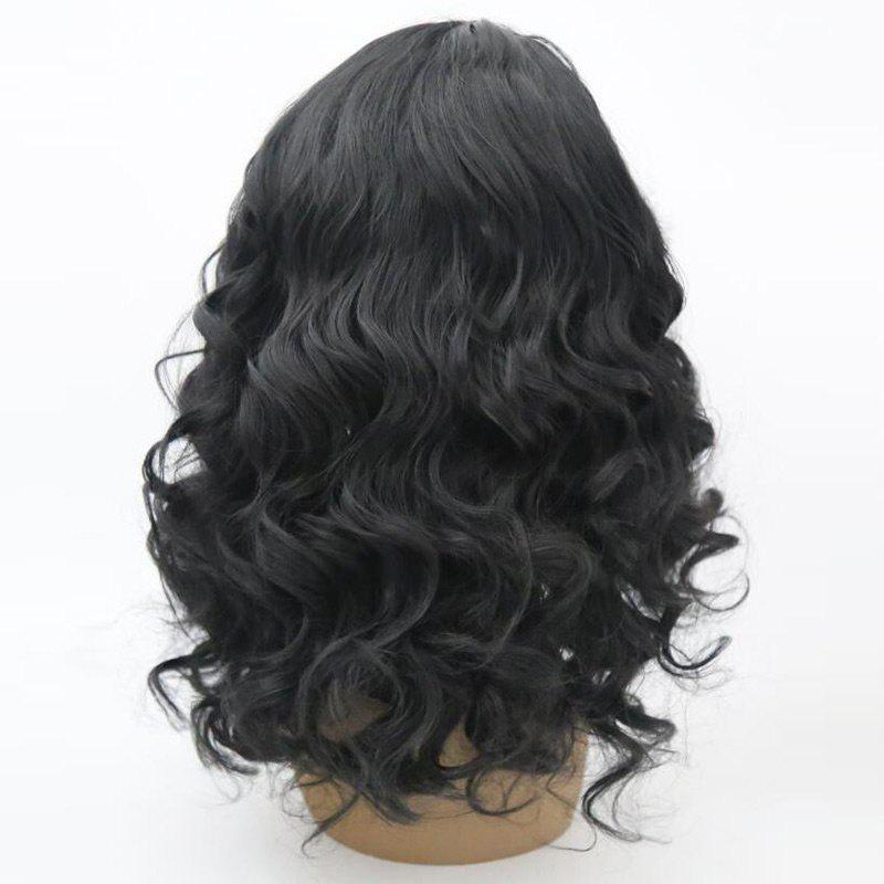 Medium Side Parting Fluffy Wavy Lace Front Synthetic Wig - BLACK