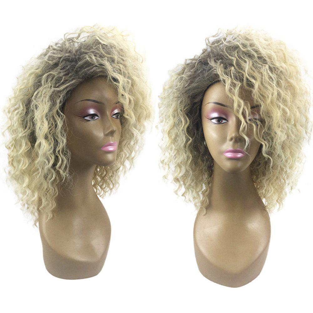 Medium Colormix Oblique Bang Fluffy Wavy Synthetic Wig - GRADIENT COLOR