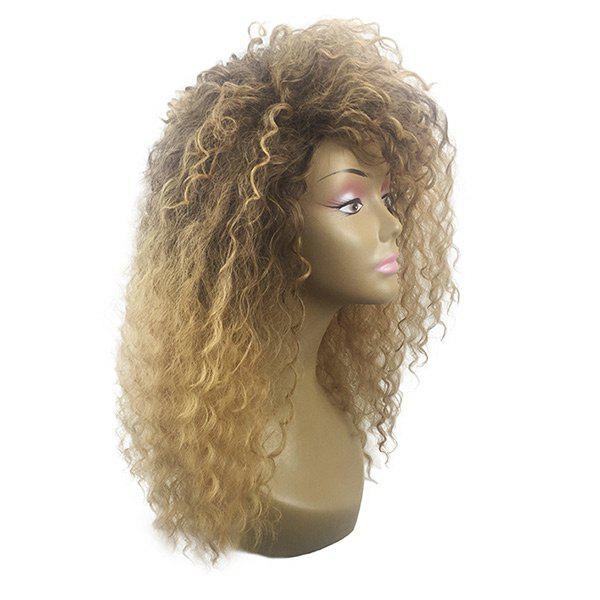 Long Fluffy Inclined Bang Colormix Wavy Synthetic Wig - GRADIENT COLOR