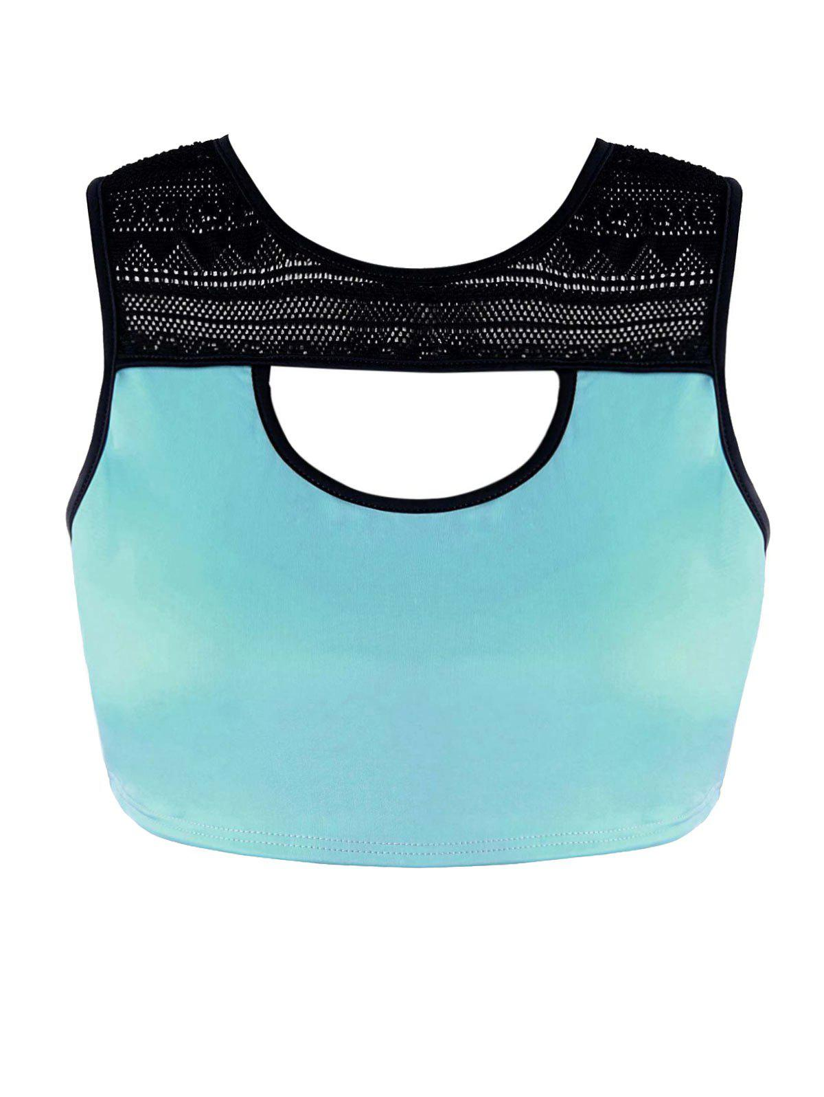 Plus Size Racerback Color Block Workout Bra - MINT 2XL