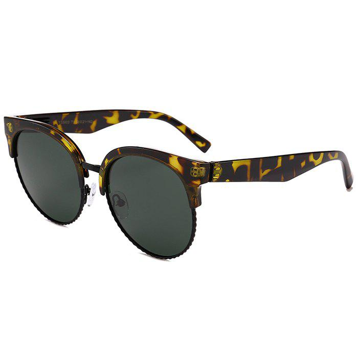 Unique Semi-frame Round Cat Eye Sunglasses - DARK GREEN CAMOUFLAGE
