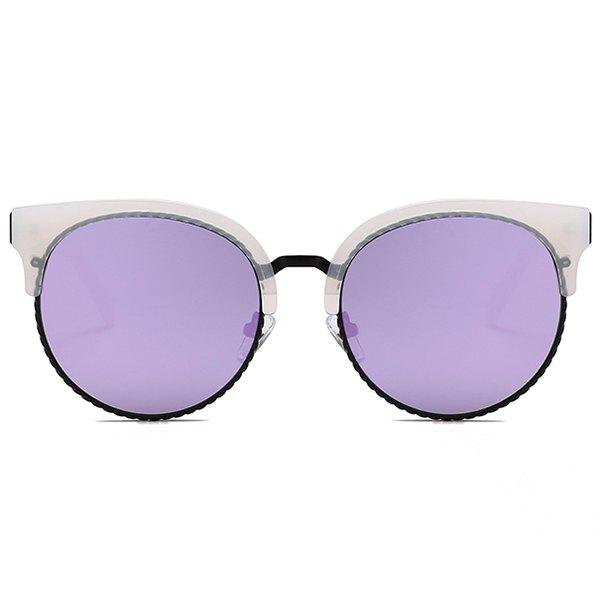 Unique Semi-frame Round Cat Eye Sunglasses - PURPLE