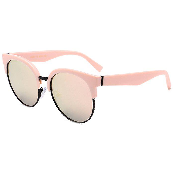 Unique Semi-frame Round Cat Eye Sunglasses - PINK FRAME/PINK LENS