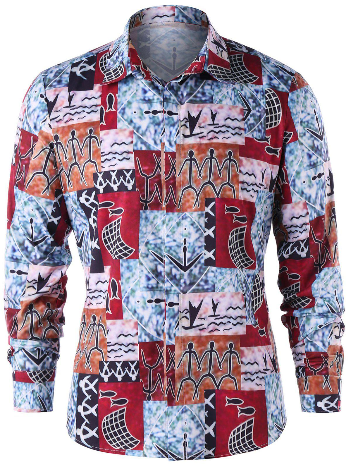 Ethnic Pattern Button Up Shirt игра софтклаб borderlands game of the year
