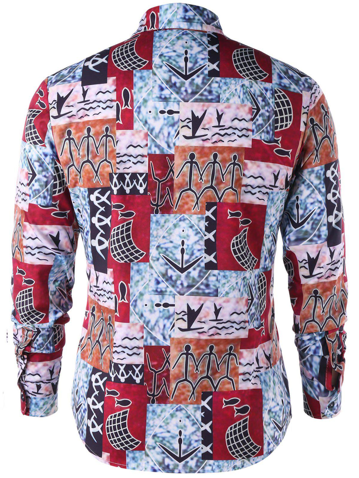 Ethnic Pattern Button Up Shirt - COLORMIX XL