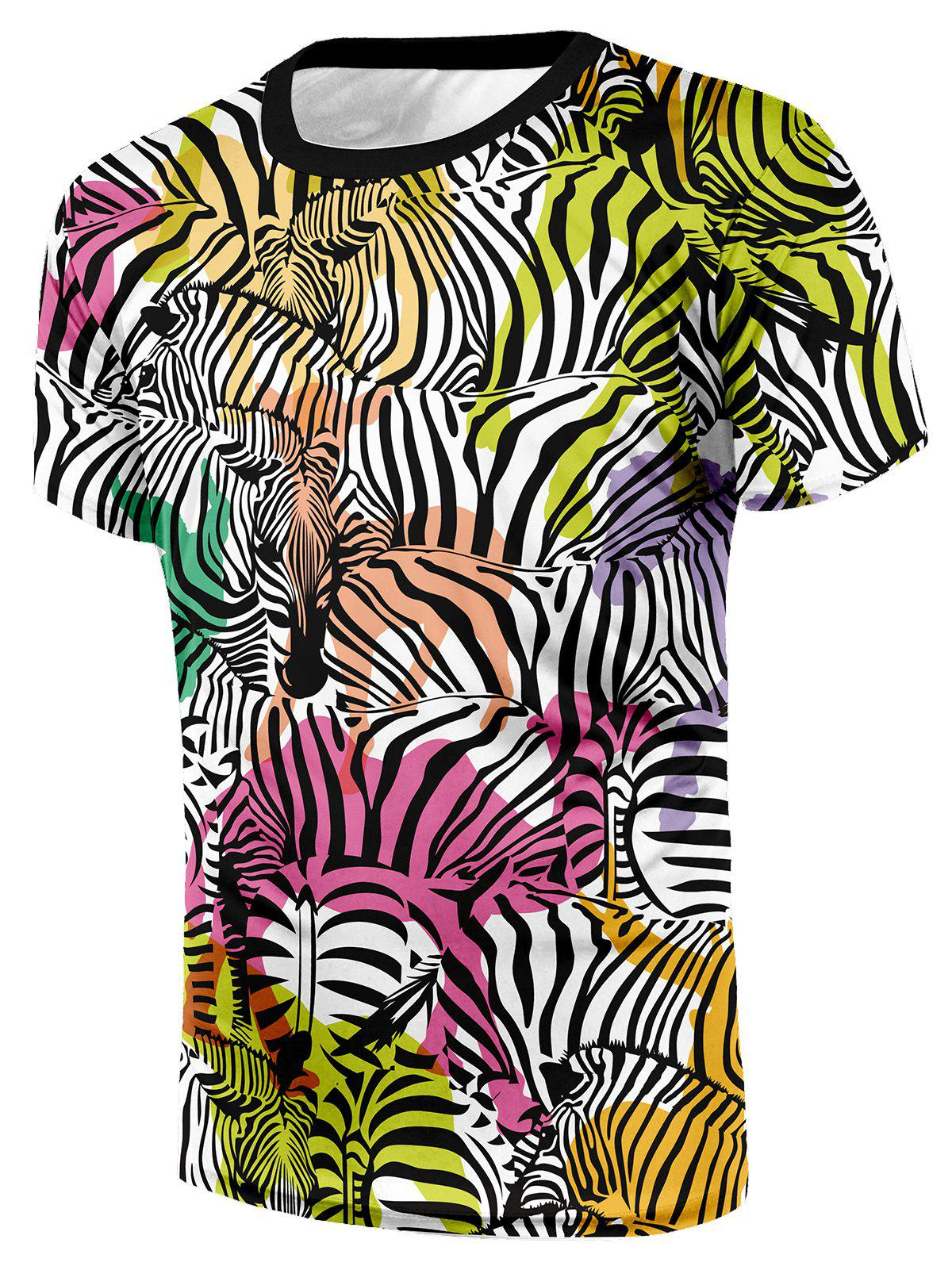 Zebra Camel Print Short Sleeve T-shirt - COLORMIX XL