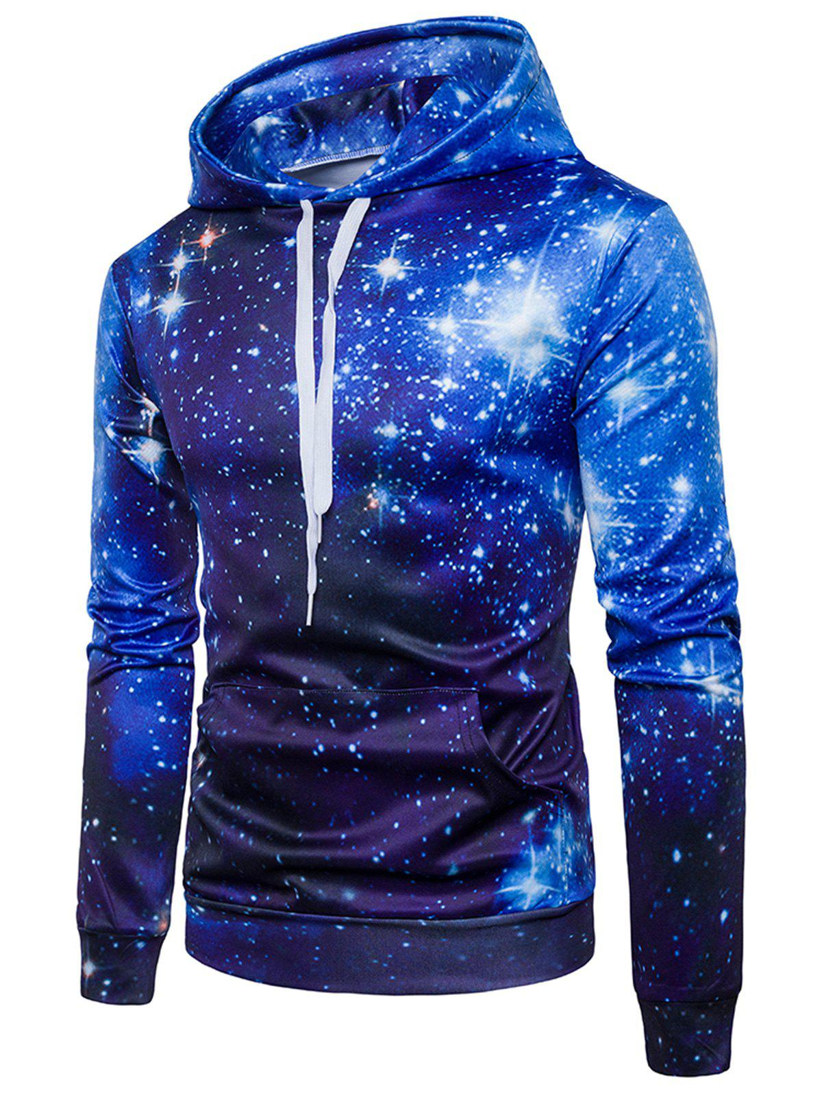 Starry Night Sky Pullover Hoodie - BLUE M