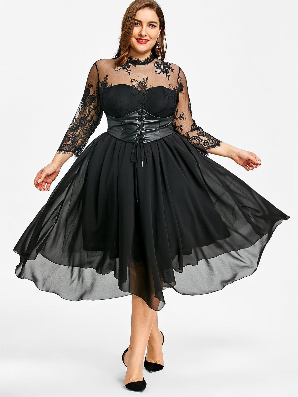 Plus Size Empire Waist Gothic Dress - BLACK 4XL