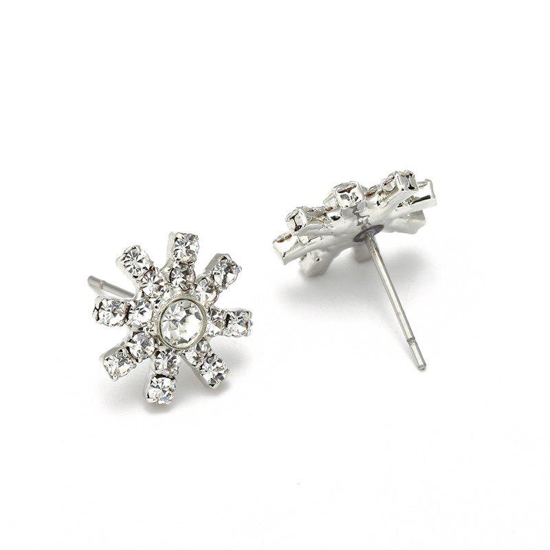 Faux Dimaond Flower Pendant Necklace with Stud Earrings - SILVER
