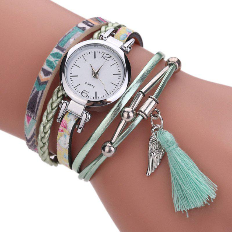 Braided Charm Bracelet Wrap Quartz Watch - MINT