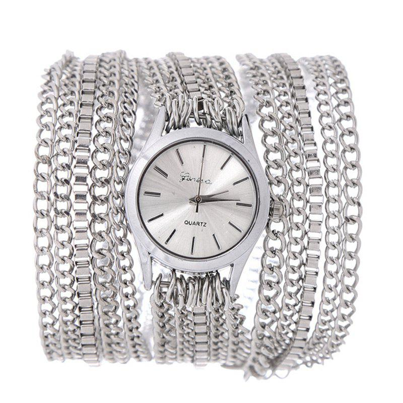Metal Wrap Chain Analog Quartz Wrist Watch - SILVER
