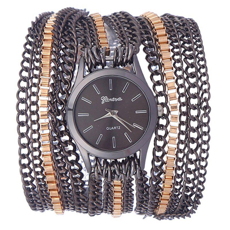 Metal Wrap Chain Analog Quartz Wrist Watch - BLACK