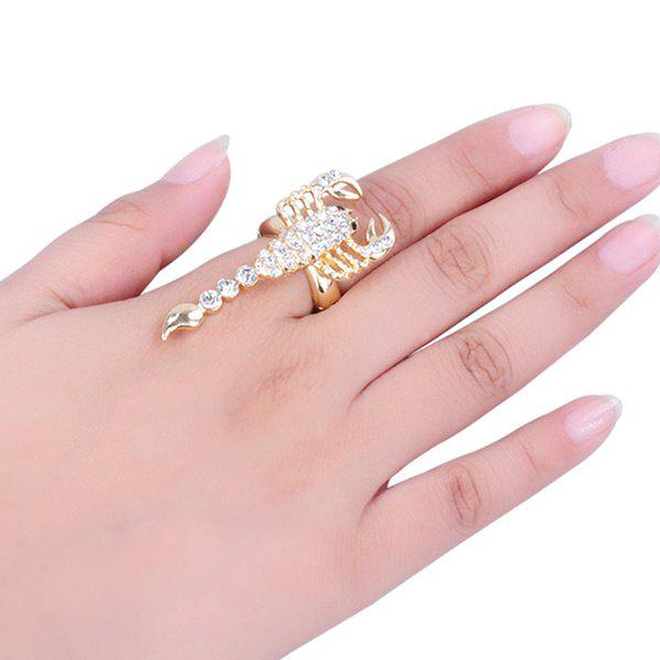 Rhinestone Inlaid Alloy Scorpion Embellished Ring - GOLDEN