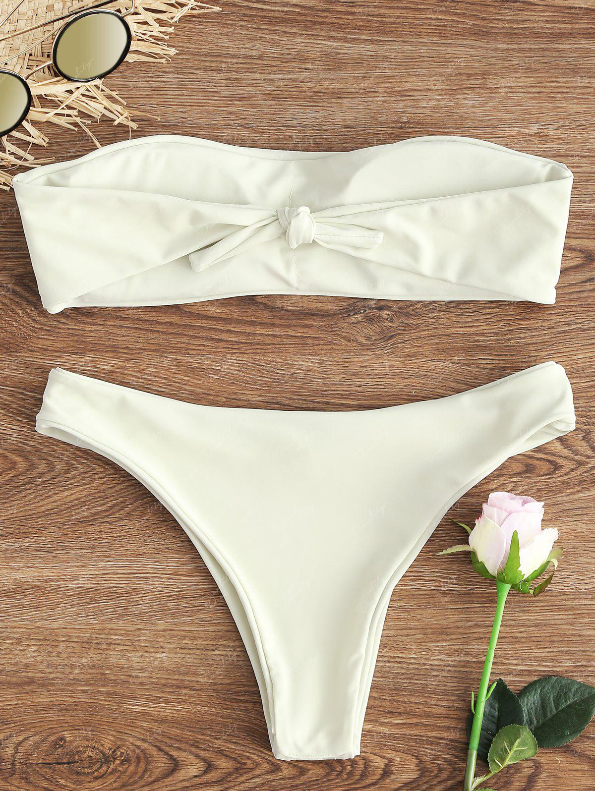 Bandeau Thong Low Waist Bikini Set - CRYSTAL CREAM XL