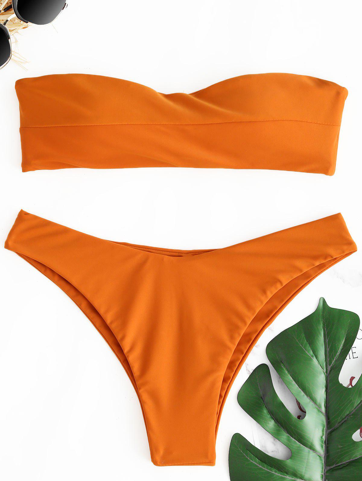 Bandeau Thong Low Waist Bikini Set - BRIGHT ORANGE L