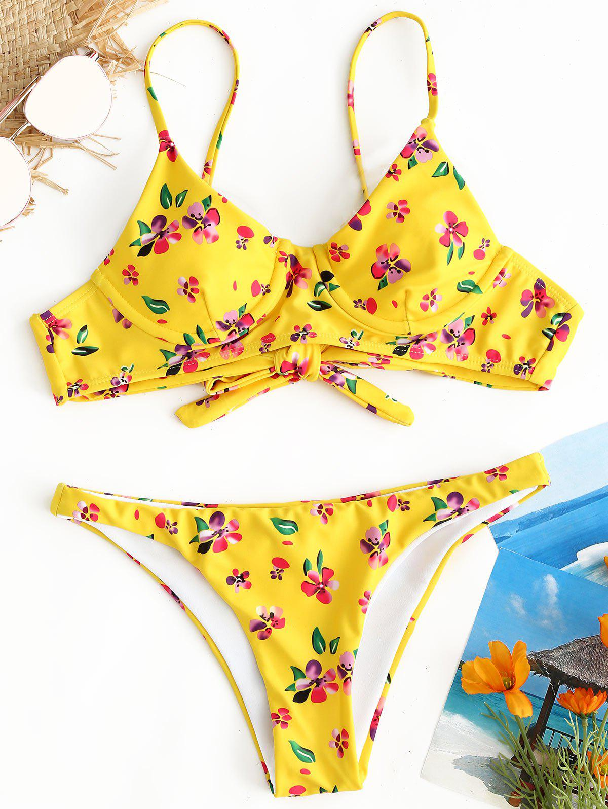 Floral Underwire Thong Bikini Set - YELLOW S