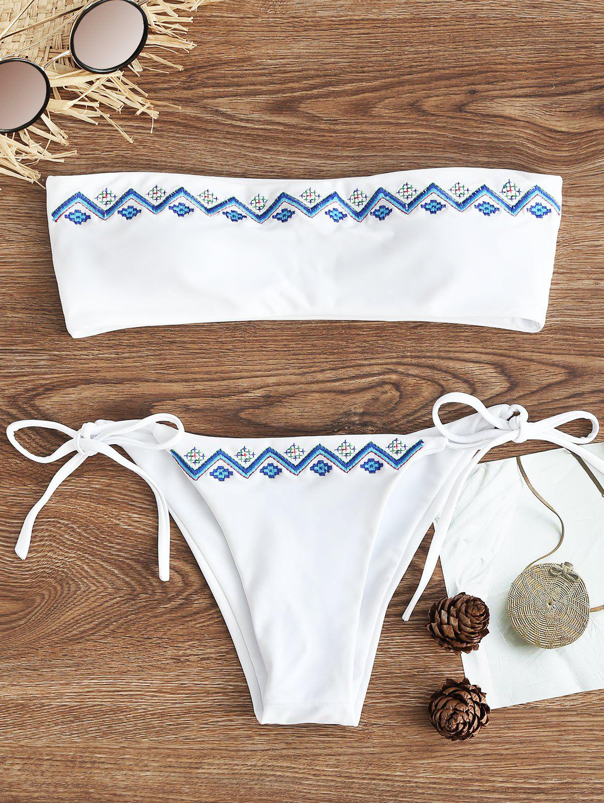 String Embroidered Bandeau Bikini Set - WHITE M