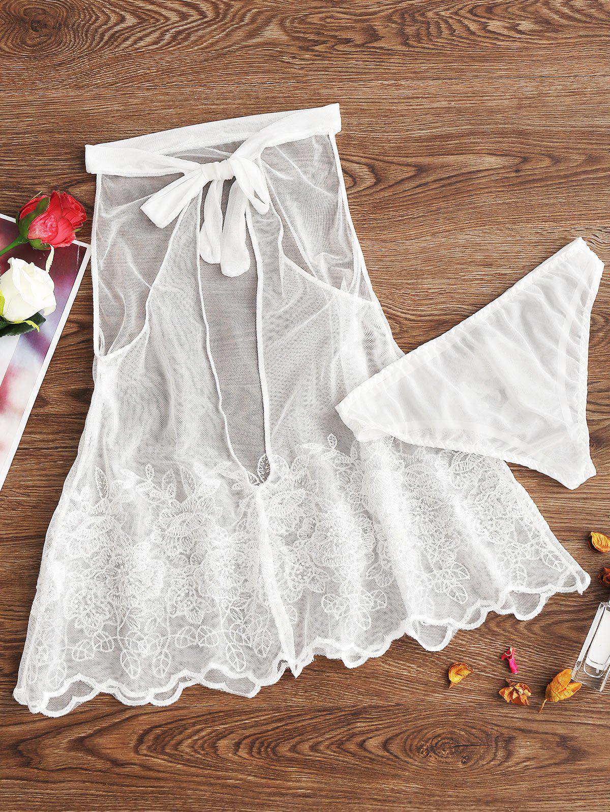 Mesh Sheer Backless Embroidery Babydoll - WHITE 2XL