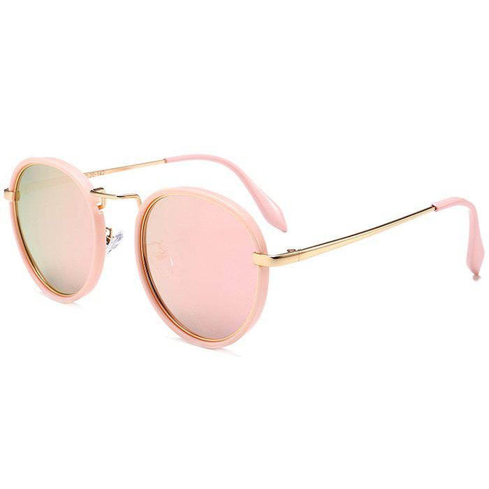 Anti UV Metal Full Frame Round Sunglasses - PINK FRAME/PINK LENS
