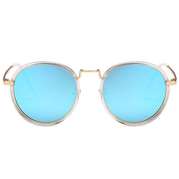 Anti UV Metal Full Frame Round Sunglasses - ICE BLUE