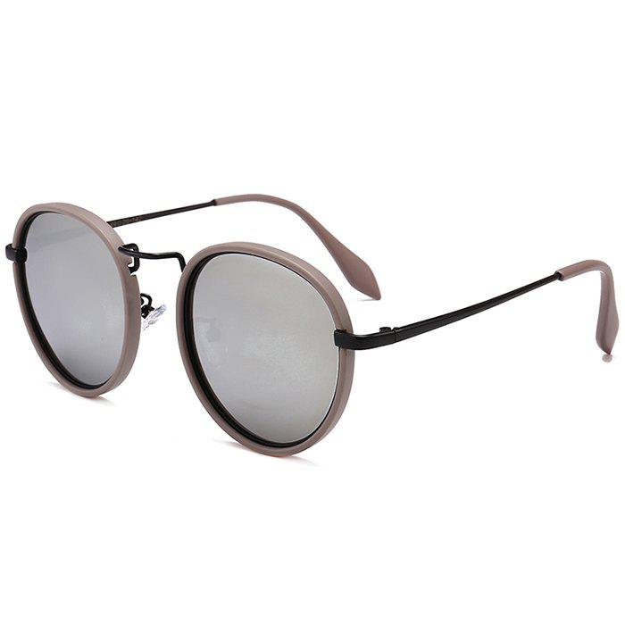 Anti UV Metal Full Frame Round Sunglasses - BLACK/MERCURY