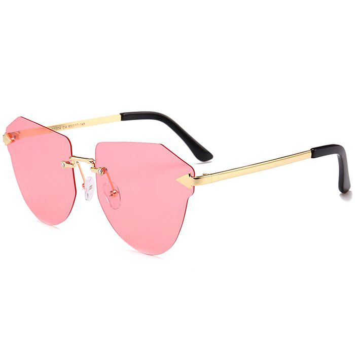 Anti-fatigue Arrow Decorated Irregular Rimless Sunglasses - LIGHT PINK